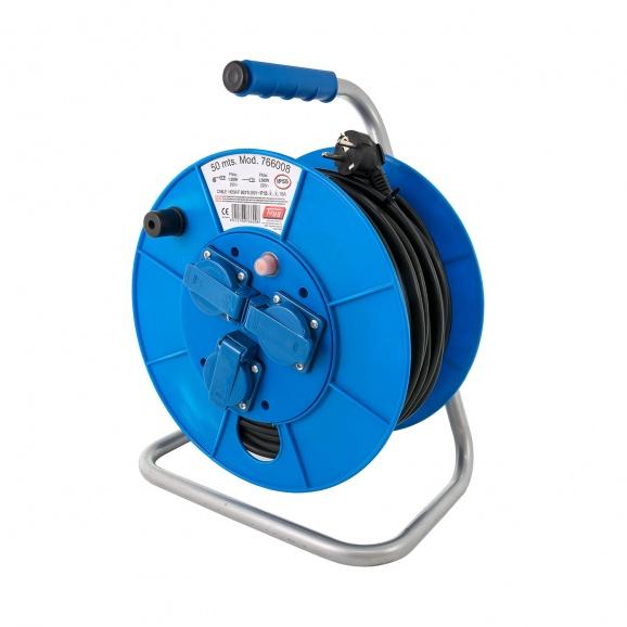 Удължител на макара TAYG 50м, 3х1.5, H05VV-F, 3 монофазни контакта, IP55