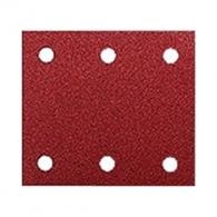 Шкурка велкро MAKITA 114х102мм Р150, универсална, с 6 отвора, червен, правоъгълна, самозалепваща