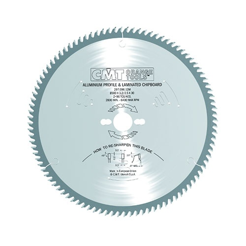 Диск с твърдосплавни пластини CMT 250/3.2/30 Z=80, за рязане на алуминий, месинг, медни сплави, пластмаса, меламин и др.