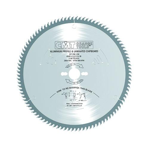 Диск с твърдосплавни пластини CMT 300/3.2/30 Z=96, за рязане на алуминий, месинг, медни сплави, пластмаса, меламин и др.