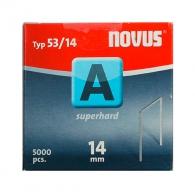 Кламери NOVUS Superhard 53/14мм 5000бр., тип 53/A, тънка супер твърда тел, кутия