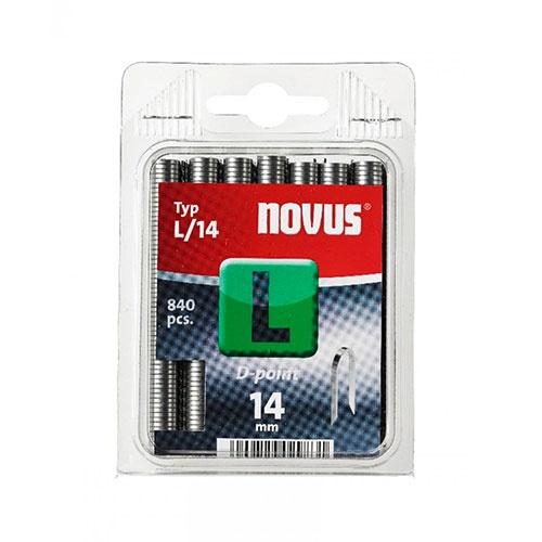 Кламери за кабели NOVUS L/14мм 840бр., тип L, поцинкована тел с D-връх, блистер
