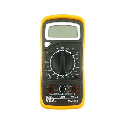 Мултиметър дигитален V&A MAS830, V/AC: 200-600V ±1,2%, V/DC: 0,2-200V ±0,5%