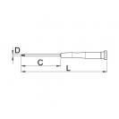 Отверткa кръстата за електроника UNIOR PH0 3.0х153/60мм, закалена, CrV, двукомпонентна дръжка - small, 87296