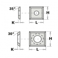 Сменяеми пластини CMT 14x14x2мм Z=4, 30°, HWM, S2020-за суха и мокра твърда дървесина, ПДЧ и MDF
