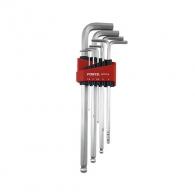 Ключ шестограм Г-образен екстра удължени FORCE 1.5-10мм 9части, CrV, никелирани, с ябълка