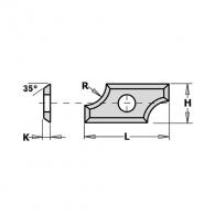 Сменяеми пластини CMT 19.5x9x1.5мм R2 Z=4, 35°, HWM, F1730-за суха и мокра иглолистна, твърда дървесина