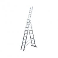 Алуминиевa стълба KRAUSE CORDA 3х10, 2800/4300/6150мм, трираменна, професионална, 150кг.