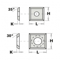 Сменяеми пластини CMT 14x12x2мм Z=4, 30°, HWM, F1730-за суха и мокра иглолистна, твърда дървесина
