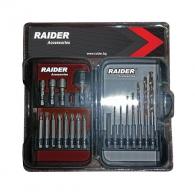 Комплект накрайници и свредла RAIDER 20части, PH, PZ, SB, SW, свредла