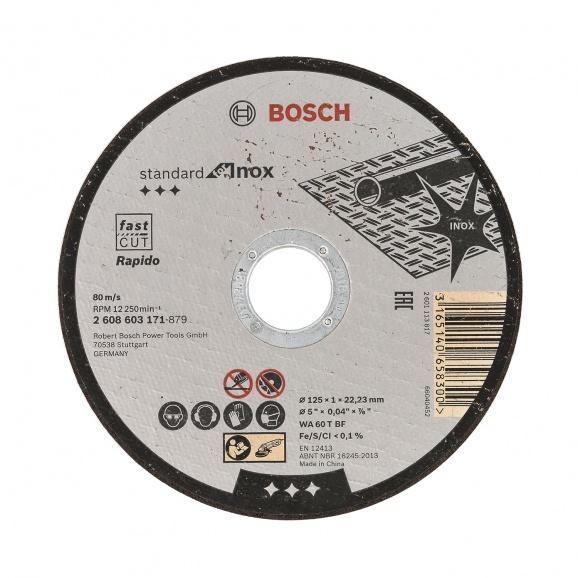 Диск карбофлексов BOSCH Rapido 125х1.0х22мм, за рязане на неръждаема стомана