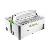 Куфар за инструменти FESTOOL SYS-SYS-SB, с двоен органайзер, пластмасов, бял