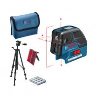 Лазерен 5-точков нивелир BOSCH GCL 25 Professional, 5 лазерни диода, точност 3mm/10m, автоматично