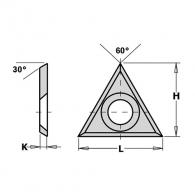 Сменяеми пластини CMT 22x19x2.0мм Z=3, 30°, HWM, F1730-за суха и мокра иглолистна, твърда дървесина