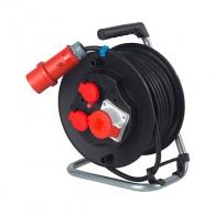 Удължител на макара AS SCHWABE CEE Safety 20м 400V, 5х2.5 H07RN-F ,1 трифазен 2 монофазни контакта, IP44