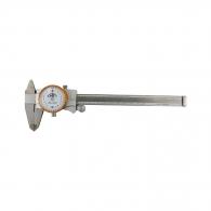 Шублер с индикатор часовник KINEX 150мм, ± 0.02, с дълбокомер, стопорен винт, неръждаема стомана