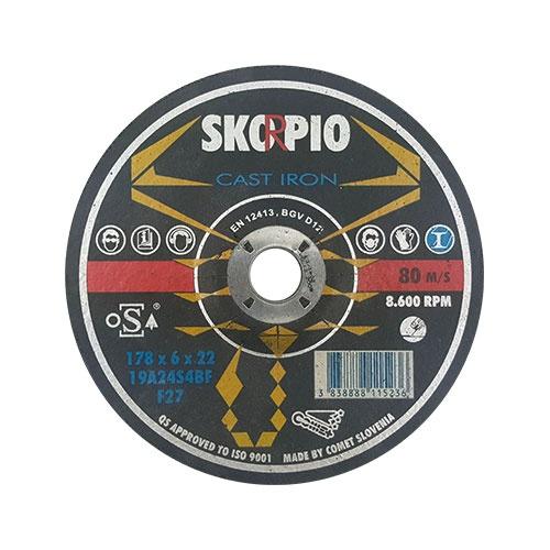 Диск карбофлексов SWATYCOMET SCORPIO 178х6.0х22.23мм, за шлайфане на алуминий и чугун