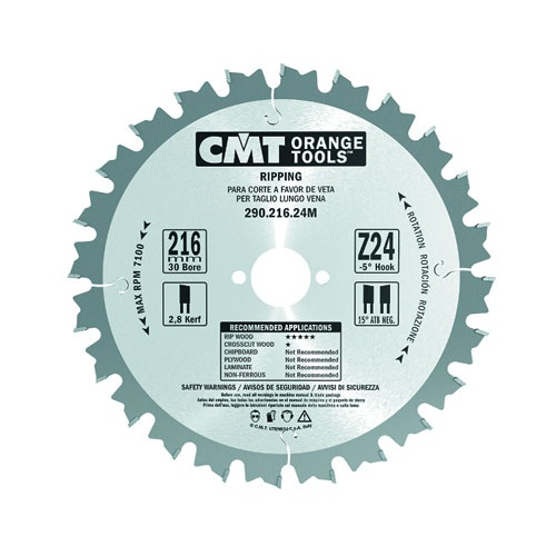Диск с твърдосплавни пластини CMT 200/2.8/30 Z=24, за рязане на мека и твърда дървесина