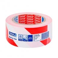 Лента обезопасителна TESA 33м, 50мм, лепяща, полиетилен, червено и бяло
