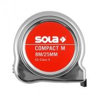Ролетка пласмасов корпус SOLA COMPACT M 8м x 25мм, с магнит, хромиран, EC-клас 2