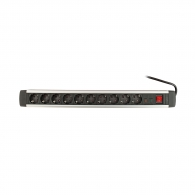 Разклонител AS SCHWABE 10гнезда/1.5м с ключ, с кабел 1.5м х1.5мм2