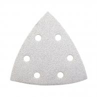 Шкурка велкро MAKITA 94х94х94мм Р120, за дърво, метал, лакове, с 6 отвора, бяла, триъгълна, самозалепваща