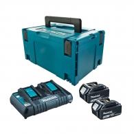 Батерия акумулаторна MAKITA BL1860Bx2 + DC18RD с куфар, 18V, 6.0Ah, Li-Ion, к-кт