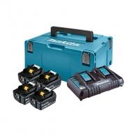 Батерия акумулаторна MAKITA BL1860Bx4 + DC18RD, 18V, 6.0Ah, Li-Ion, к-кт