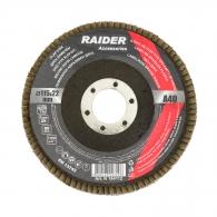 Диск ламелен RAIDER 115х22.23мм P40, за шлайфане на метал, камък, дърво и пластмаса