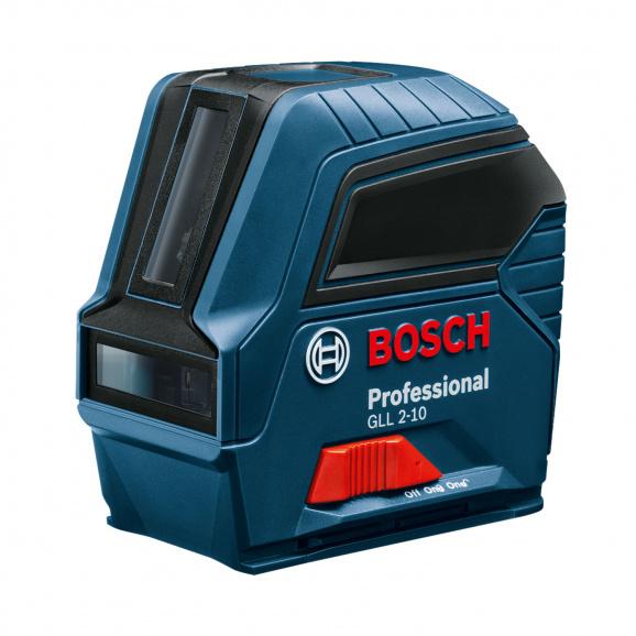 Линеен лазерен нивелир BOSCH GLL 2-10 Professional, 2 лазерни линии, точност 3mm/10m, автоматично