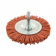 Четка дискова SIT ф75x6мм P120, за бормашина, плоска, найлонова, с опашка 6мм, грубо, оранжев