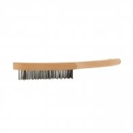 Четка ръчна WEILER, 4 реда, стоманена, 0.35мм-тел, с дървена дръжка