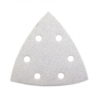 Шкурка велкро MAKITA 94х94х94мм Р60, за дърво, метал, лакове, с 6 отвора, бяла, триъгълна, самозалепваща