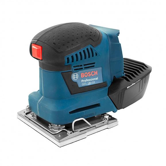 Шлайф вибрационен акумулаторен BOSCH GSS 18V-10 Professional, 18V, 1.5-5.0Ah, Li-Ion, 11000-22000об/мин, 115х140мм