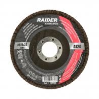 Диск ламелен RAIDER 115х22.23мм P120, за шлайфане на метал, камък, дърво и пластмаса