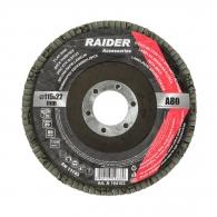 Диск ламелен RAIDER 115х22.23мм P80, за шлайфане на метал, камък, дърво и пластмаса