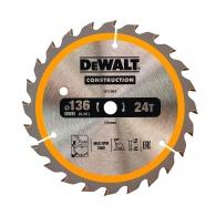 Диск с твърдосплавни пластини DEWALT Construction 136/1.5/10 Z=24, за дървесина