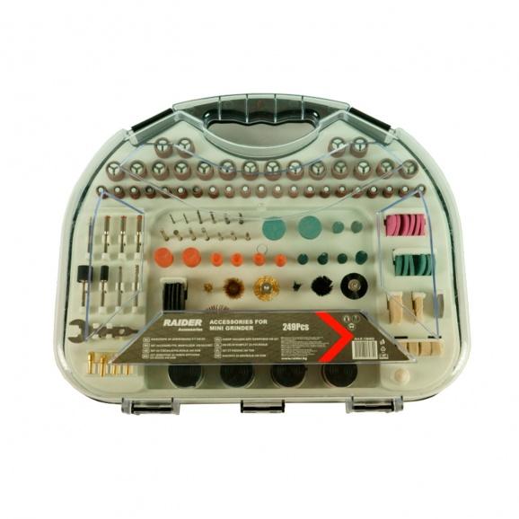 Комплект шлайфгрифери RAIDER 249части, комплект в куфар