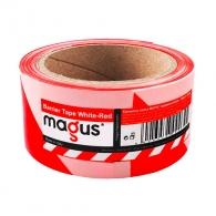 Лента обезопасителна MAGUS 200м, полиетилен, червено и бяло