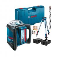 Ротационен лазерен нивелир BOSCH GRL 400 H + BT 170 HD, червен лазер клас 2, обхват 400m, точност 0.5mm/10m, автоматично