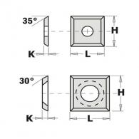 Сменяеми пластини CMT 14x14x1.2мм Z=4, 30°, HWM, S2020-за суха и мокра твърда дървесина, ПДЧ и MDF
