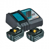 Батерия акумулаторна MAKITA BL1860Bx2 + DC18RC, 18V, 6.0Ah, Li-Ion, к-кт