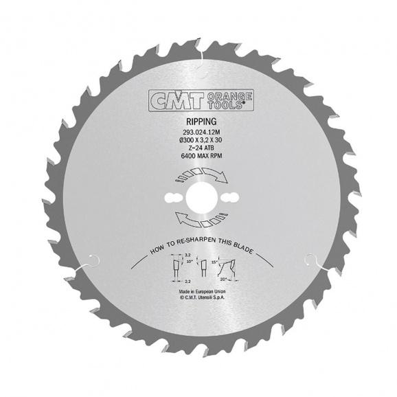Диск с твърдосплавни пластини CMT 450/3.8/30 Z=36, за рязане на мека и твърда дървесина