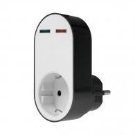 Адаптор за дефектнотокова защита AS SCHWABE 16 A 230V, 20IP, черен, пластмаса, шуко стандарт, 1-контакт