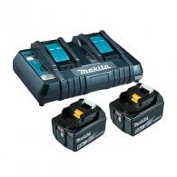 Батерия акумулаторна MAKITA BL1860Bx2 + DC18RD, 18V, 6.0Ah, Li-Ion, к-кт