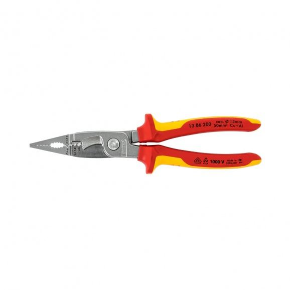 Клещи комбинирани KNIPEX 200мм, ф2.2/2.8мм, ф15мм/50мм2, CS, двукомпонентнa дръжкa, 1000V
