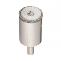 Боркорона с прахообразен диамант WOLFCRAFT 35х70/45мм, с цилиндрична опашка ф10мм, за керамика, фаянс, теракот и порцелан