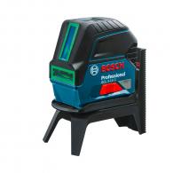 Линеен лазерен нивелир BOSCH GCL 2-15 G, 2 лазерни линии, точност 3mm/15m, автоматично