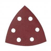 Шкурка велкро MAKITA 94х94х94мм Р180, универсална, с 6 отвора, червена, триъгълна, самозалепваща, 10бр.к-кт