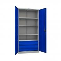 Шкафове за инструменти PROMET TC1995 004030, с четири рафта, три чекмеджета, 500кг. товароносимост